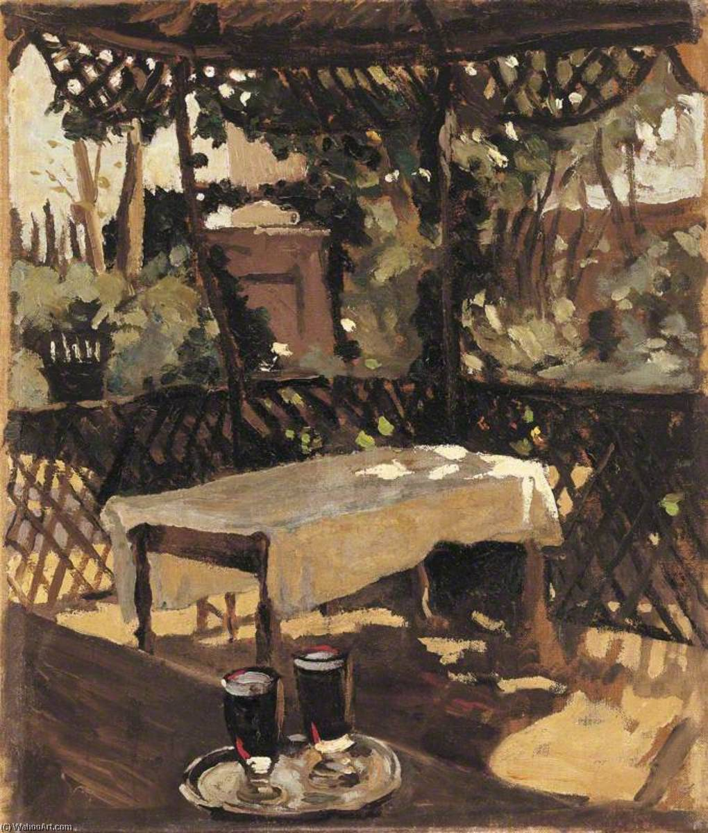 famous painting Two Glasses on a Tray on a Verandah (after John Singer Sargent) of Winston Spencer Churchill