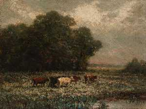 Edward Mitchell Bannister - Untitled (landscape with cattle grazing)