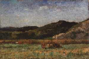Edward Mitchell Bannister - Untitled (landscape with cows grazing, hills)