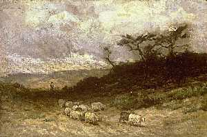 Edward Mitchell Bannister - Untitled (shepherd with sheep)