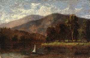 Edward Mitchell Bannister - Untitled (sailboat in river)