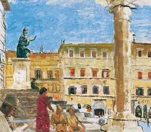 Carel Victor Morlais Weight - Scene in front of the Cathedral, Perugia