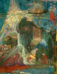 Sidney Herbert Sime - Illustrative Design of Fountain and Figures