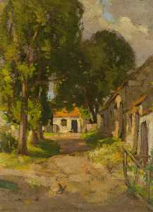 John Guthrie Spence Smith - Cottages with Red Tiles