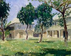 Anna Huntington Stanley - Governor's House, San Jose De Buenavista, Panay (with trees), (painting)
