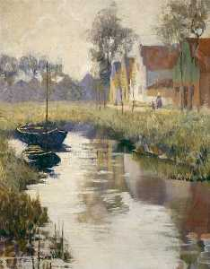 Anna Huntington Stanley - Houses by a Canal, (painting)