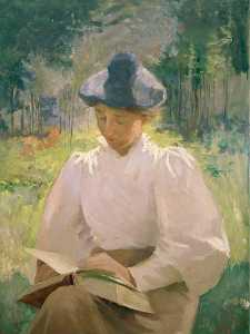 Anna Huntington Stanley - Girl Reading, (painting)
