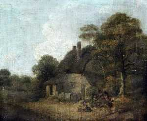 William Redmore Bigg - Country Cottage with Figures