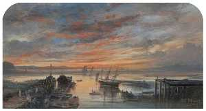 William Muir - Sunset from Girvan Harbour