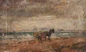 John Elliot Maguire - Horse and Cart by the Seaside