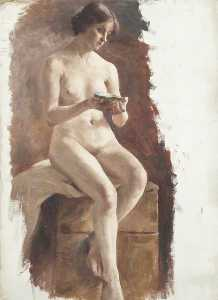 Beryl Fowler - Study of a Nude Female with a Shell in Her Hand