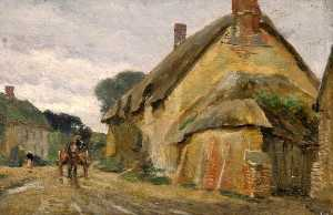 Frederick William Newton Whitehead - Village Street with Horse and Cart, West Stafford, Dorset