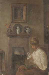 Patti Mayor - Girl Sewing by a Fireside