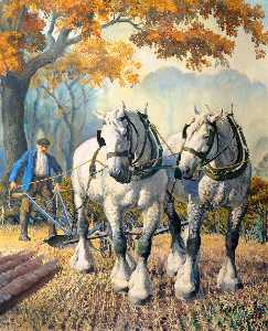 Charles Frederick Tunnicliffe - A Team of Horses
