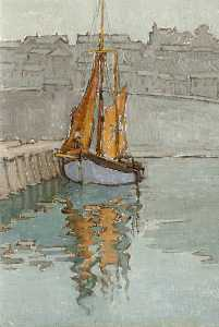 Georgina Moutray Kyle - Fishing Boat in a Harbour