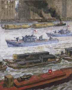 John Edgar Platt - Wartime Traffic on the River Thames War Supplies at Paul's Wharf