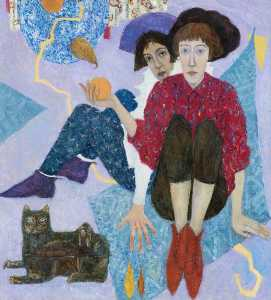 Jennifer Mcrae - Two Figures with a Cat Box