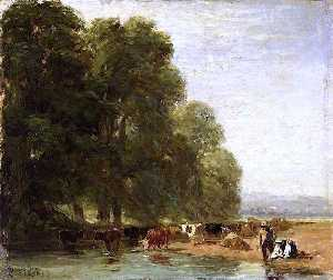 David Cox The Elder - Landscape with Cattle by a Pool