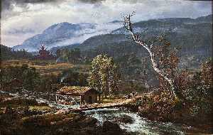 Johan Christian Clausen Dahl - Landscape at Kaupanger with Stave Church
