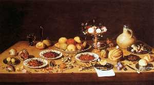 Jan Van Kessel The Elder - Still Life on a Table with Fruit and Flowers