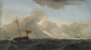 Willem Van De Velde The Younger - Seascape with passing storm