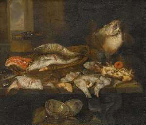 Abraham Hendriksz Van Beijeren - A still life with salmon, plaice, a crab and other fish arranged on a table, a view of the sea beyond