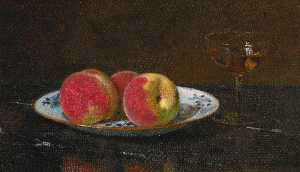 Otto Scholderer - Still Life with Peaches and Glass