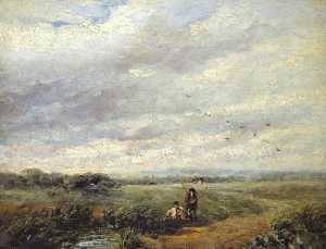 David Cox The Elder - River Scene with Boys Fishing
