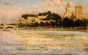 James Carroll Beckwith - The Palace of the Popes and Pont d'Avignon