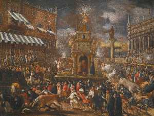 Joseph Heintz The Younger - Venice, the Piazzetta at carnival on Giovedi Grasso with a firework display and the bulls running