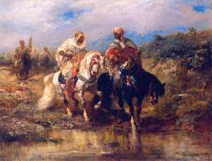 Adolf Christian Schreyer - Horseman at a Watering Hole