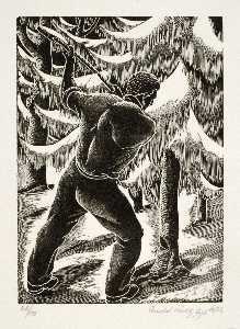 Arnold Wiltz - Untitled (man cutting down tree)