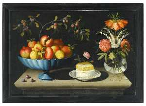 Bernardo Polo - Still life with a blue bowl of pomegranates and peaches, a plate of white cheese with a honeycomb and a rose, and flowers in a glass vase