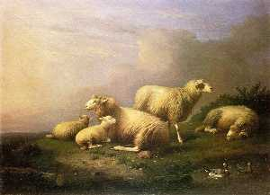 Francois Van Severdonck - A Flock of Sheep Resting by a Pond