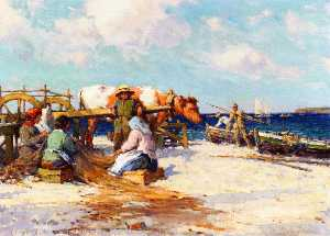 Farquhar Mcgillivray Knowles - Fishermen Mending Nets on the Beach
