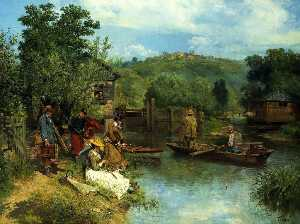 Francois Adolphe Grison - The Fishing Party