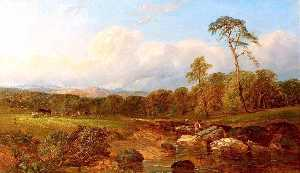 James Walsham Baldock - Landscape with Men and Cattle