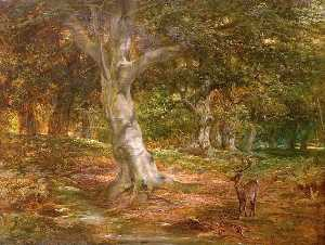 James Walsham Baldock - Forest Scene with Deer