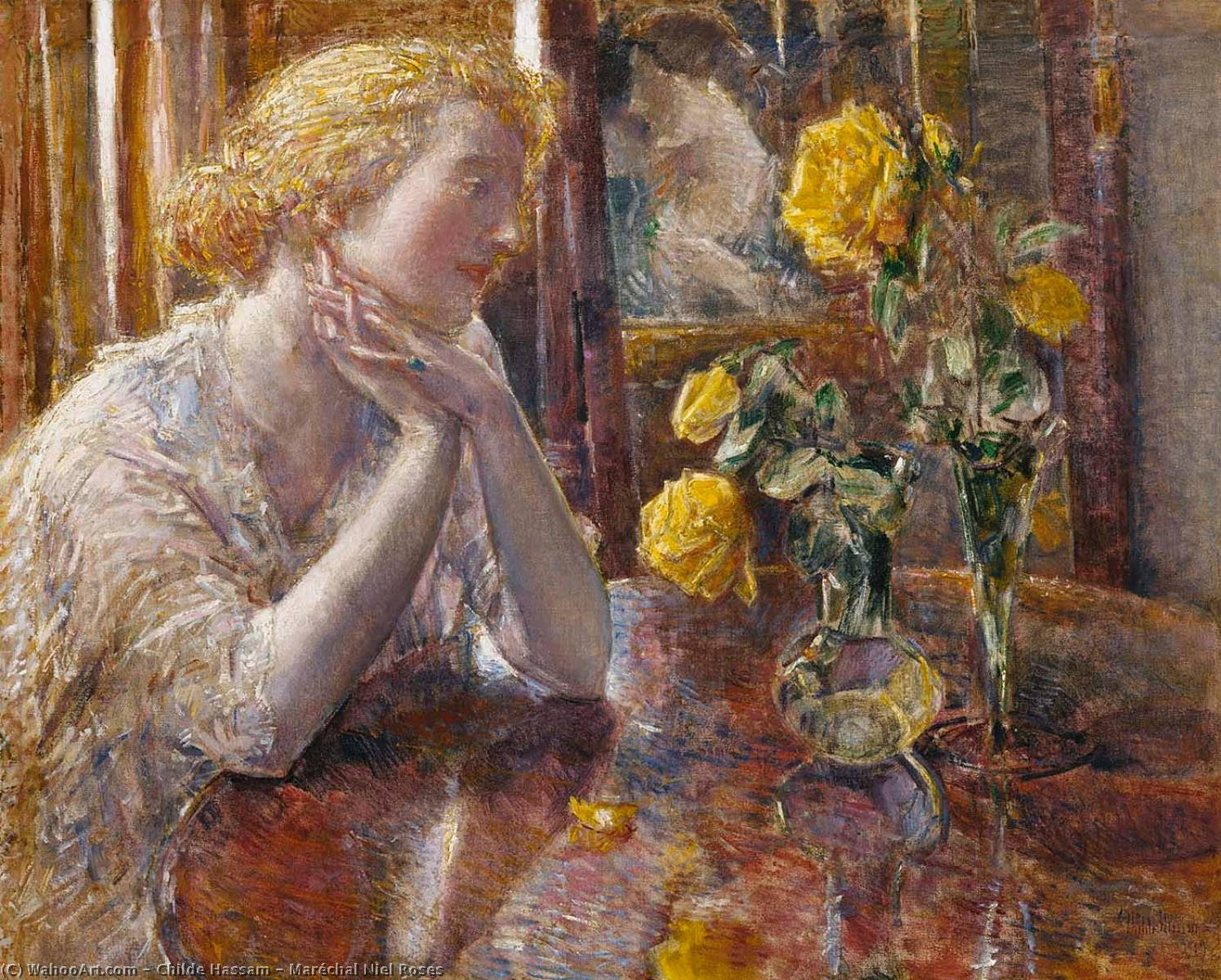 famous painting Maréchal Niel Roses of Frederick Childe Hassam