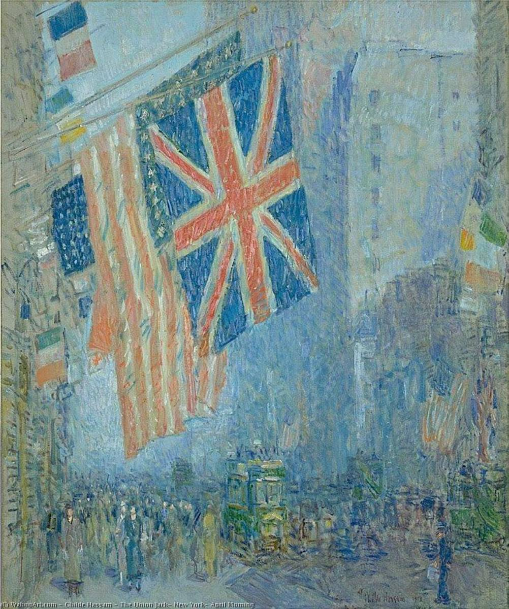 famous painting The Union Jack, New York, April Morning of Frederick Childe Hassam