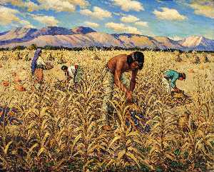 Carl Moon - Corn Harvest at Santo Domingo