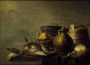 Harmen Van Steenwyck - Still Life of Fish, a Pear, Game and Kitchen Utensils