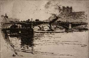 Edward Townsend Howes - (Paris Scene River Scene) ( 2)