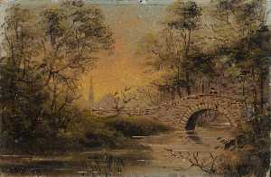 Henry Charles Heffer - River Scene with a Bridge
