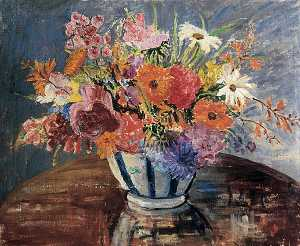 Mary Ethel Hunter - Flowers in a Blue Striped Vase