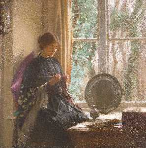 Harold Knight - knitting
