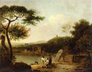Richard Wilson - Lake Avernus with Figures in the Foreground and the Temple of Apollo beyond
