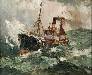Harry Hudson Rodmell - Gale Force 8 Trawler in a Rough Sea