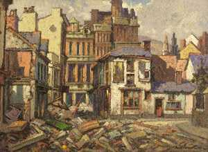 Will Evans - St Mary's Square after the Blitz, Swansea
