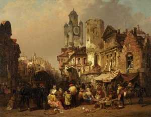 Henry Courtney Selous - Market Scene, Bergues, France